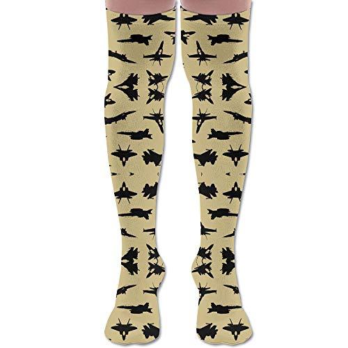 DFAUHAL Fighter Jets On Tan Large Wallpaper (6097) Knee High Graduated Compression Socks for Unisex - Best Medical, Nursing, Travel & Flight Socks - Running & Fitness