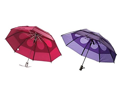 Gustbuster Metro Wind Resistant Umbrellas 2 Pack Bundle, Burgundy and Purple