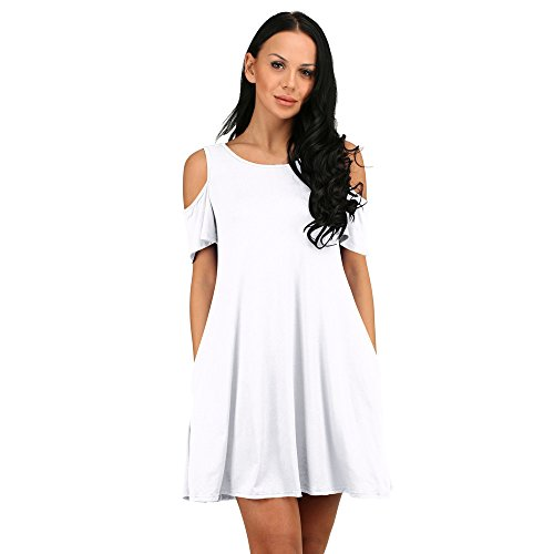 Summer Loose Off Dress Solid White Casual Shoulder Cotton Mini Aribelly Sundress fAwdnxqf