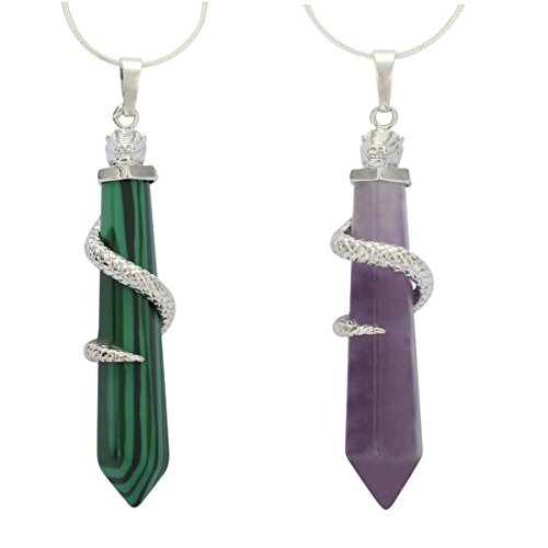 Natural Amethyst & Malachite Necklace Healing Crystal Reiki Chakra Gem Stones 18 Inch Gemstone Pendant Necklace (2pcs) Great Gift GGP-D-S2