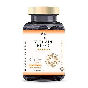 Vitamine D3 K2 Dosage Élevé Naturelle – Vitamine D3 5000 iu + Vitamine K2 MK7 200μg + Silicium Contribue au…