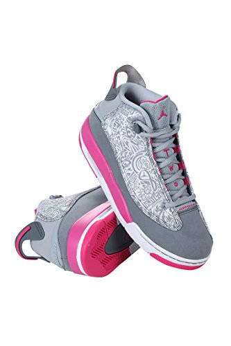Jordan AIR DUB ZERO GG GRADE SCHL girls basketball-shoes 725742-007_4.5Y - Wolf Grey/vivid Pink-cool Grey-white by Jordan