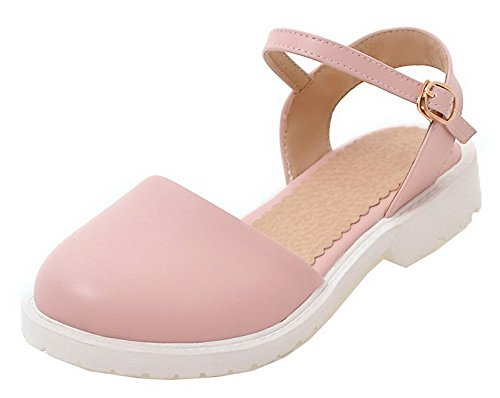 WeenFashion Solid Pink Sandals Heels Toe PU Women's Round Low Buckle UwAqRpPU