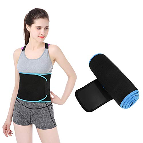 Tihebeyan Back Waist Supporter Brace Sweat Absorption Sports Fitness Waist Protector Elastic Breathable Lumbar Belt Black wit Blue Edge(M)