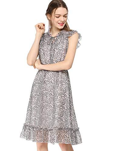 Leopard Smock - Allegra K Women's Ruffled Sleeveless Tie V Neck Smocked Waist Leopard Chiffon A-Line Dress M
