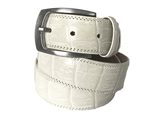 [Fresco Golf Full Grain Italian Leather Crocodile Embossed Belt for Men] (Leather Crocodile Belt)