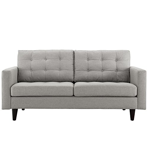 Modway Empress Mid-Century Modern Upholstered Fabric Loveseat In Light Gray (Modern Loveseat Contemporary)