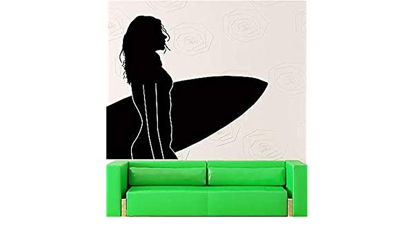 pegatinas de pared frases Surfeando chica sexy con tabla de surf ocean: Amazon.es: Bricolaje y herramientas