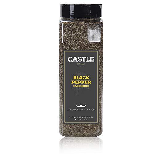 (Castle Foods | Black Pepper Cafe Grind Container, 1lb 2 oz Premium Restaurant Quality)