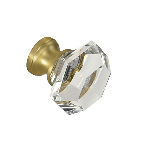 #G-75 CKP Brand Elegance Glass Collection 1-1/4 in. (32mm) Clear Glass Knob with Satin Brass Base - 10 Pack