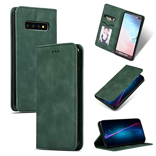 Compatible with Galaxy S10 Plus Wallet Case Luxury, PU Leather Folio Flip Business Design with Kickstand Credit Card Slots and Magnetic Closure Cover for Samsung Galaxy S10+ (Green)