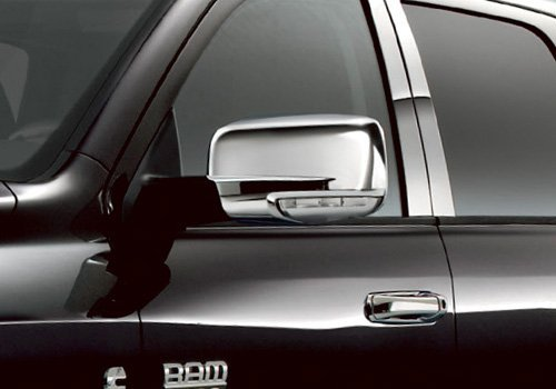 Restyling Factory 13-17 Dodge Ram 2500/3500/HD / 13-17 Dodge Ram 1500 Chrome Mirror Cover W/Turn Signal Hole Triple Chrome Plated Mirror Cover Cap 1 Pair (Chrome)