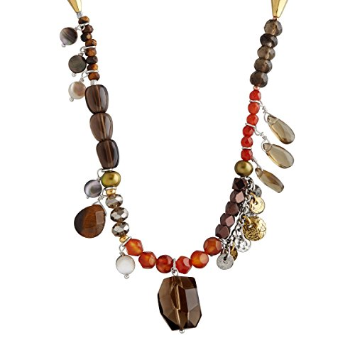 (Silpada 'Spice of Life' Natural Multi-Stone Necklace in Genuine Leather, Sterling Silver, Brass)