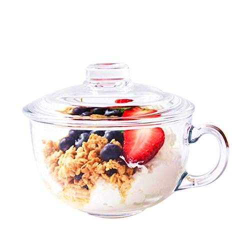 550ml large-capacity heat-resistant glass cup with lid breakfast cup tempered glass milkshake cup nutrition porridge cup salad bowl instant noodle cup can be heated with microwave or steamer