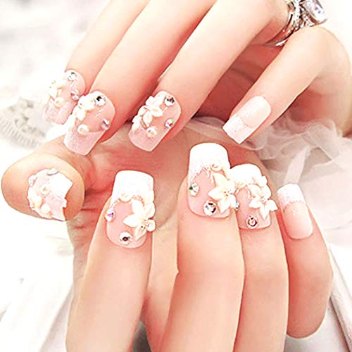Barode False Nails Glitter Rhinestone Pearl Flower Full Cover Acrylic Fake Nails Wedding Birthday Party Clip on Nails for Women and Girls