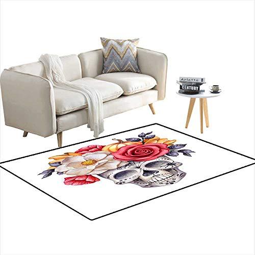 Room Home Bedroom Carpet Floor Mat Watercolor Illustration Halloween Floral Skull Fall Flowers Autumn Pumpkin Dia de Los Muertos Festive Clip Art isolateon 4'x20'