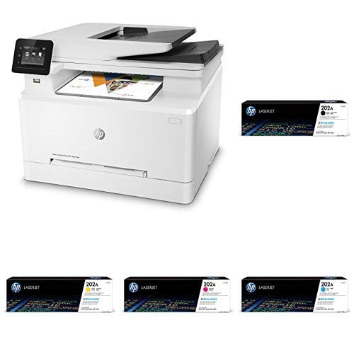 HP LaserJet Pro M281fdw All in One Wireless Color Laser Printer (T6B82A) with Standard Yield 4 Color Toner Cartridges