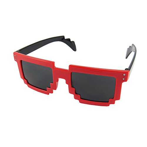 8 Bit Pixel Kids Sunglasses Red/Black - Gamer Geek Glasses for Boys and Girls Ages 6+ (Heroes Costume Terraria)