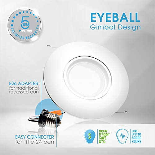 Parmida (4 Pack) 6 inch LED Adjustable Gimbal Downlight, Dimmable, 15W (120W Replacement), Rotatable Eyeball Retrofit Recessed Trim, 3000K (Soft White), 1060LM, ENERGY STAR & ETL-Listed by Parmida LED Technologies (Image #4)