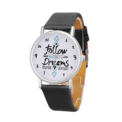 Womens Quartz Watches With Worlds Cooki Unique Analog Fashion Clearance Lady Watches Female Watches On Sale Casual Wrist Watches For Women Round Dial Case Comfortable Pu Leather Watch H30  Black