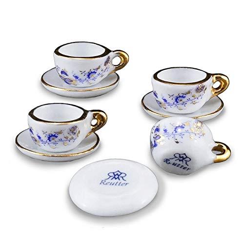 - Miniature 1:12 Scale Blue Onion Teacup Set for 4 by Reutter Porcelain