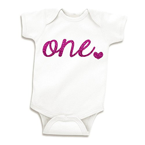 Baby Girl First Birthday Outfit, Girls One Year Old Birthday Shirt (Glitter Pink, 12-18 -