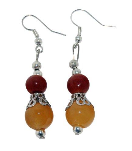 Multi Jade Earrings Color (Jade Earrings Multi Color Jade Silver Plate Accents)