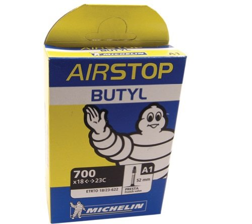 Michelin A1 AirSTOP Butyl Road Bike Tube - Presta Valve - Yellow/Blue Box (700 x 18/23 - Presta 52mm)