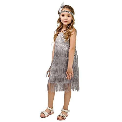 Kids Girl's Fashion Flapper Satin Dress Costume (L, Silver)
