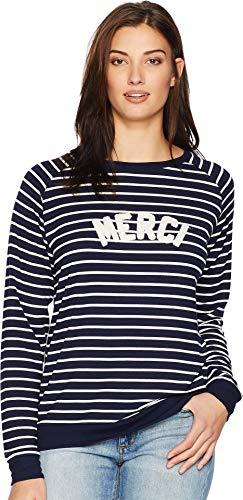 Per Se Women's Embroidery Raglan Long Sleeve Knit CVC Top French Terry Navy/White Merci Large ()