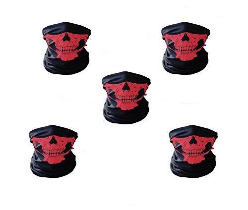 5-Pack Red Seamless Multi Function Skull Tube Tubular Half Face Mask Headband Headwear Bandana Neck (Holloween Usa)