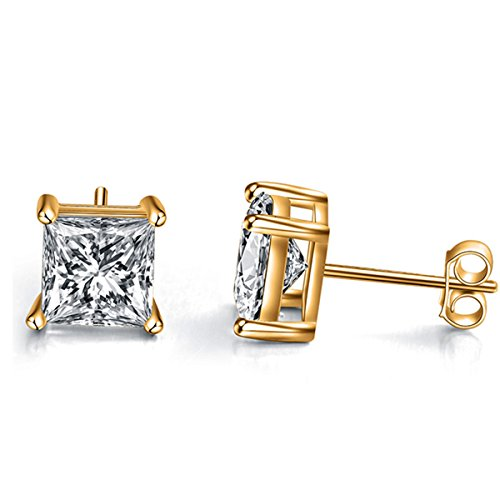 Sephla Gold Plated 925 Sterling Silver 4 Prong 7mm Square Shape Cubic Zirconia Stud Earring (6mm Yellow Gold Plated Silver) ()