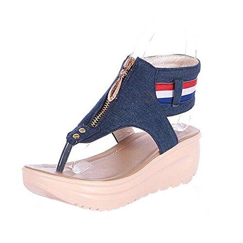 YEEY Ronda peep clip Toe talón plano vaquero t-strap sandalias para mujer cuero genuino verano Beach post sandalias flip flop zapatos de cremallera Deep Blue