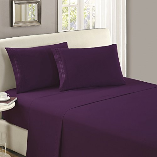 (Mellanni Flat Sheet Queen Purple Brushed Microfiber 1800 Bedding Top Sheet - Wrinkle, Fade, Stain Resistant - Hypoallergenic - (Queen, Purple))