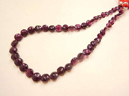 GemAbyss Beads Gemstone 75 Cts Red Garnet Natural Gemstone 5-6.5 Mm Faceted Coin Beads Code-MVG-10923 ()