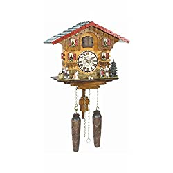 Musical Black Forest Quartz Chalet Style Cuckoo Clock with Towns People