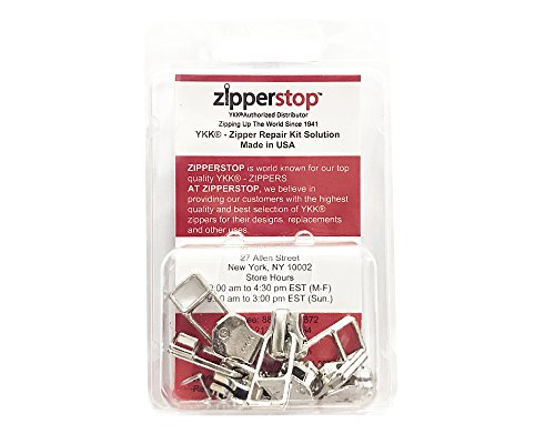 ZipperStop Wholesale - Zipper Repair Kit Solution YKK #5 Assorted Metal Bell Pull Sliders with Top-Bottom Stoppers Made in USA in CLAMSHELL BOX W/HANGER (Aluminum - 5 sliders)