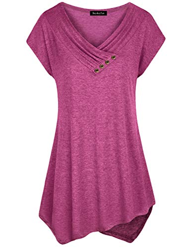 DayDayFun Long Tunic Shirts for Leggings, Women Cap Sleeve Shirt Cowl Neck Tops Pleated A Line Jersey Knit Flowy Pleated Tunic Blouse for Work (Red M)
