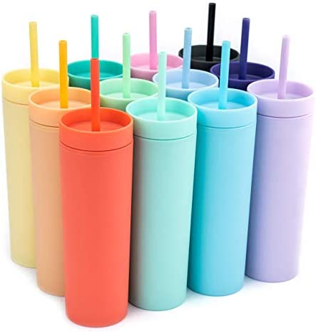 SKINNY TUMBLERS (12 pack) Matte Pastel Colored Acrylic Tumblers with Lids and Straws | Skinny, 16oz Double Wall Plastic Tumblers With FREE Straw Cleaner! Cup With Straw | Vinyl DIY Gifts