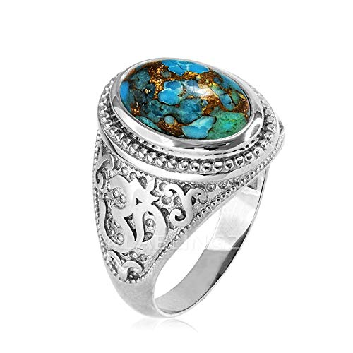 Hindu Jewelry by LABLINGZ Sterling Silver Om Aum Blue Copper Turquoise Yoga Ring