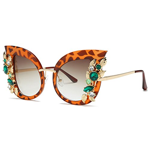 Price comparison product image Bettal Rhinestone Studded Cat Eye Rectangular Designer Fashion Sunglasses for Women (Tawny)