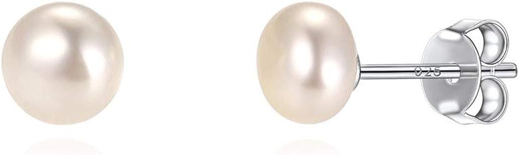 Silvora Clásicos Pendientes Plata Perlas Naturales 6MM 8MM 10MM para Mujeres Chicas Pendientes de boton para perforados Gratis caja de regalo