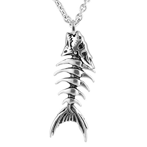 Controse Silver-Toned Stainless Steel Fish Bones Necklace 17