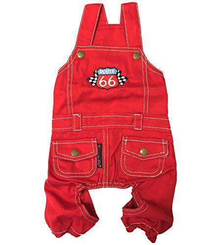 Parisian Pet Dog Clothes Cat Apparel Outfits Route 66 Jumpsuit, XL]()