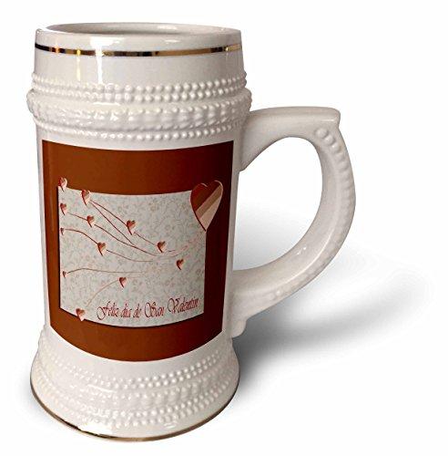Beverly Turner Valentine Design - Feliz dia de San Valentin, Happy Valintines Day in Spanish, Copper Hearts - 22oz Stein Mug (stn_37053_1)