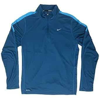 New Nike Men's Racer Long-Sleeve Half-Zip Shirt Blue Force/Lt Blue Laquer/Reflective Silver X-Large