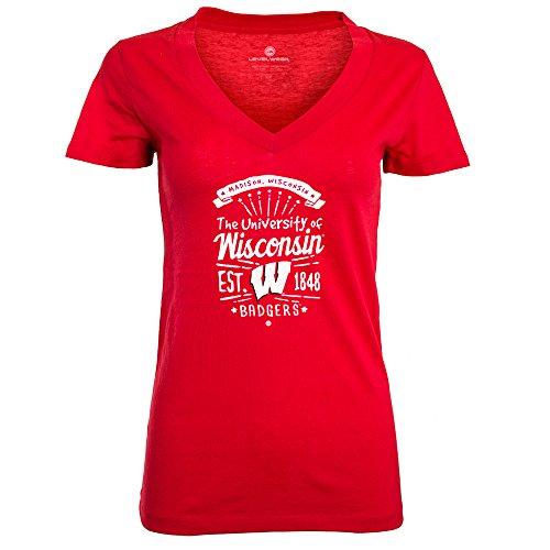 NCAA Wisconsin Badgers Adult Women Anthem Entice Ladies Tee, Medium, Solid Flame Red -