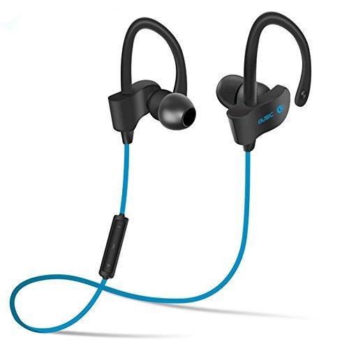 Bluetooth Earphones 4.1 Earhook Sport Headphones for Running Music Cell phones Keywords Waterproof Sweatproof Dropproof Wireless Earbuds-Blue