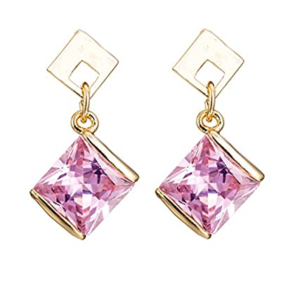 Top YAZILIND Elegant Gold Plated Square Pink Cubic Zirconia Stud Drop Dangle Earrings for Women for sale