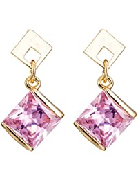 Elegant Gold Plated Square Pink Cubic Zirconia Stud Drop Dangle Earrings for Women